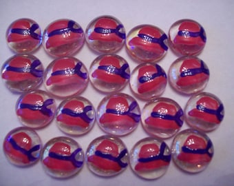 Hand painted glass gems party favors pink hats with purple bow