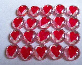 Hearts Hand painted glass gems  party favors  RED HEARTS  HEART