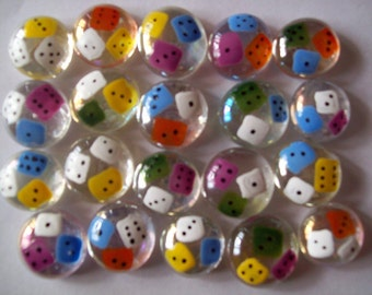 Hand painted glass gems party favors COLORFUL DICE