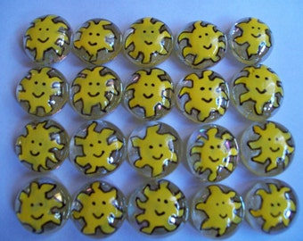 Hand painted glass gems party favors art  SUN SUNS SUNSHINE set of 50