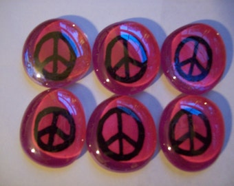 Hand painted Glass Large Gems Mosaic Tile  Black Peace Signs on pink