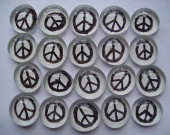 Peace signs black on white party favors mosaic tile painted glass gems