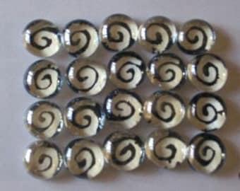 Swirls Hand painted glass gems mosaic tile WHITE SWIRLS on BLACK  art party favors