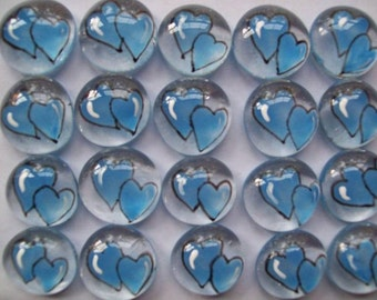 Hand painted glass gems party favors  light blue  double WEDDING HEARTS