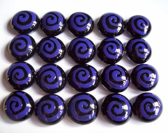 Hand painted glass gems party favors mini art purple swirls on black