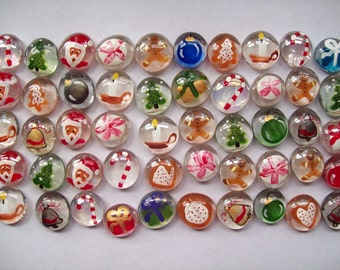 Christmas Hand painted glass gems Christmas mix party favors decorations set of 50