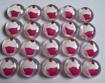 Hand painted glass gems party favors pink bottom cupcakes with fluffy white icing and cherry on top cupcake