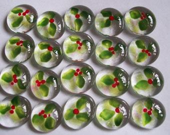 Hand painted glass gems HOLLY WITH BERRIES  Christmas decorations party favors