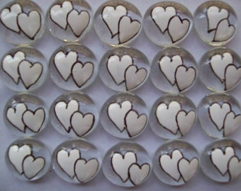 Hand painted glass gems party favors  WHITE DOUBLE WEDDING Hearts heart