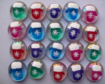 Hand painted glass gems party favors christmas  SNOWFLAKE MITTENS assorted colors