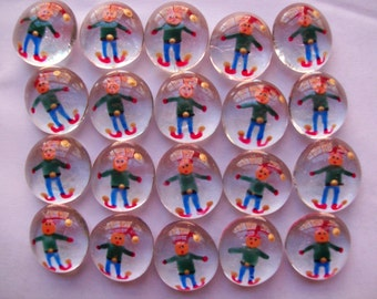Hand painted glass gems party favors decorations  ELF ELVES CHRISTMAS