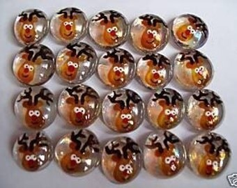 Hand painted glass gems party favors Christmas  Rudolph the red nosed reindeer