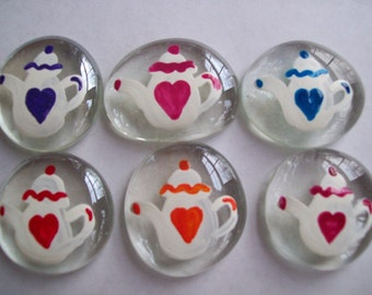 Hand painted large glass gems  teapots with hearts  teapot