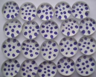 Hand painted Glass Gems Mosaic Tile  purple polka dots on white