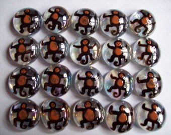 Handpainted glass gems party favors monkey monkeys set of 50