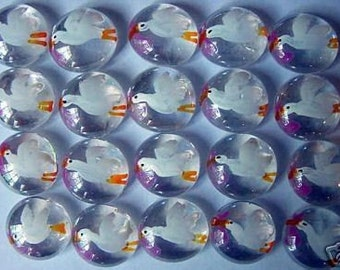 Hand painted glass gems party favors stork baby girl