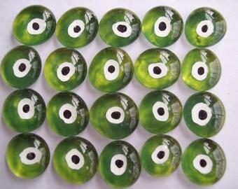 Evil eye Hand painted glass gems mosaic tile turkish evil eye green  eyes