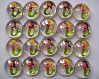 Handpainted Glass Gems for crafts , party decorations, favors  mermaids blond and brown hair