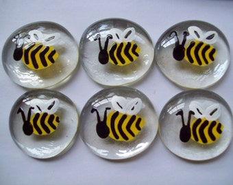 Bees Hand painted large glass gems party favors art  Bees Bumble bee