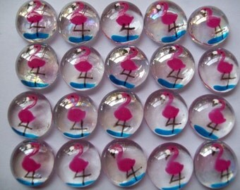 Hand painted glass gems party favors pink flamingos pink flamingo tropical beach set of 50
