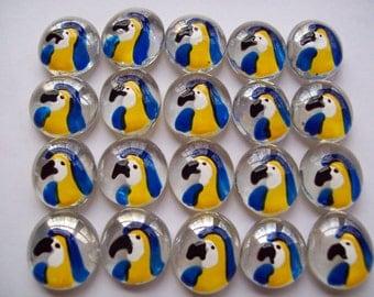 Hand painted Glass Gems parrot parrots toucan bird  for crafts , party decorations, favors