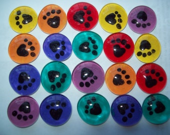 Hand painted glass gems mosaic tile party favors PAW PRINTS on assorted colors