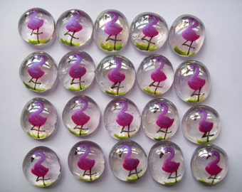 Hand painted glass gems party favors pink flamingos pink flamingo tropical beach shimmer pink