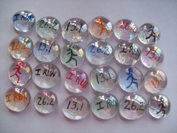 Hand painted glass gems party favors RUNNERS RUNNING RUNNER