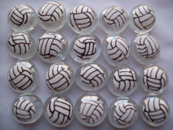 Hand painted glass gems party favors volleyballs  volleyball