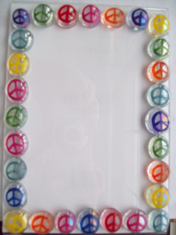 Last Chance SALE 50 % off Hand painted glass gem picture frame 5 x 7   peace signs peace