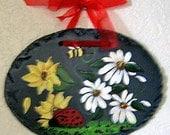 Ladybug, Bee, Sunflower, and Daisy Faux Slate