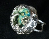 Ocean inspired shadowbox fine silver ring