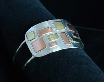 Sterling silver, copper, brass cuff ,statement, gift