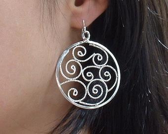 Sterling silver filigree earrings ,dangle ,statement, gift