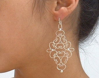 Sterling silver filigree earrings ,dangle ,statement, gift
