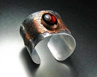 Stainless steel and copper etched cuff with red glass jewel ,statement, gift