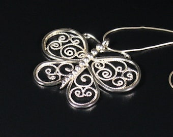 Sterling silver filigree butterfly pendant / pin ,statement, gift