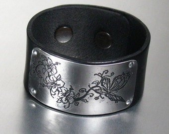 Black leather wrist band cuff with stainless steel etched panel, butterflies and flowers ,statement, gift