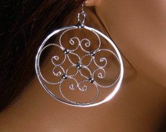 Earrings sterling silver filigree ,dangle ,statement, gift