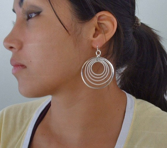 Sterling silver circles in circles earrings ,dangle ,statement