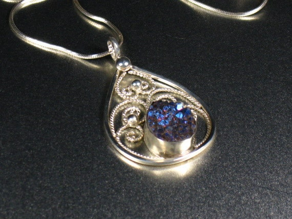Sterling silver filigree pendant with deep blue and purple titanium stone ,statement, gift