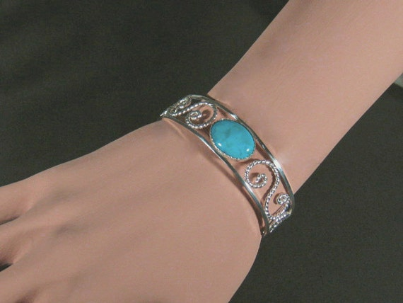 Sterling silver filigree cuff bracelet with turquoise stone ,statement