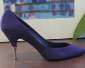 80s Purple Suede Shoes with Gold Spiked High Heels 7