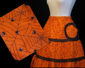80s Halloween Circle Skirt with Spiders XL XXL