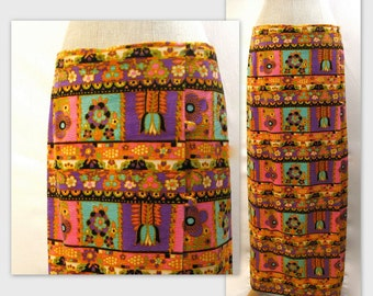 Vintage 60s Velvet Maxi Skirt L in a Chic Psychedelic Print