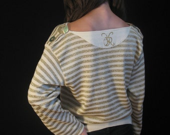 80s Glittery Gold Slouch Sweater by Castelbajac for Iceberg