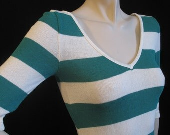 80s Curvaceous Striped Knit Dress XS S with a V Neck