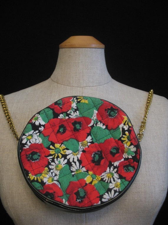 Vintage 80s Mondi Bag / Quilted Chain Link Purse / Poppies