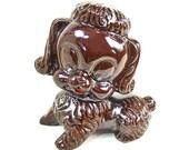 Vintage  Ceramic Poodle Dog Figurine Brown Salt Glazed Redware Japan