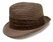 Vintage 1960s Fedora Hat Mad Men Straw Brown Black Paisley 6 3/4 Small